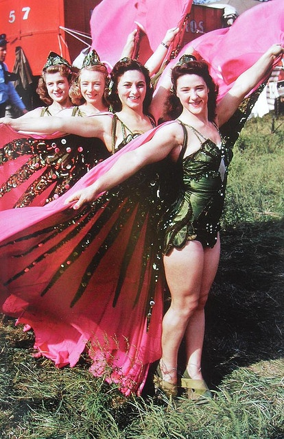 1950s Women Circus Performers In Winged Costimes