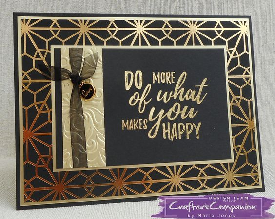 HSN. Card made using Sara Signature Black & Gold Collection - Foil Transfers, Gold foil, Luxury Metal Charms, Luxury Glitter card & Luxury Foiled card. Designed by Marie Jones #crafterscompanion
