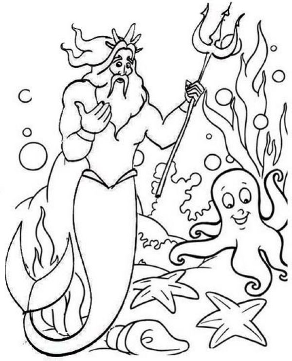 Great King Triton Coloring Pages Free For Your Kids Mermaid