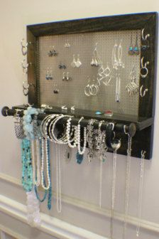 You Get To Pick The Stain And Decorative Mesh Color, Jewelry Organizer With  Bracelet Bar, Stained Wall Mounted Jewelry Organizer And Holder