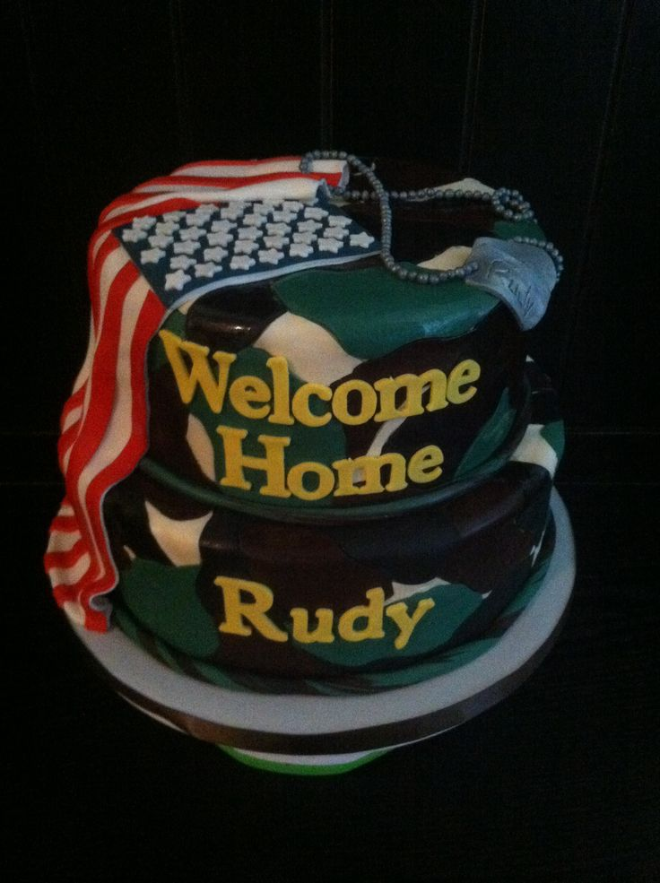 Welcome home army cake my style pinterest home for Welcome home soldier decorations