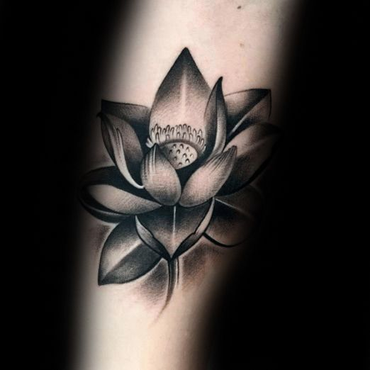 Creative Lotus Flower Black And Grey Male Shaded Arm Tattoos