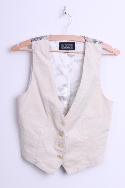 Ralph Lauren Mens S Waistcoat Cream Retro Country Life Pattern Sleeveless - RetrospectClothes