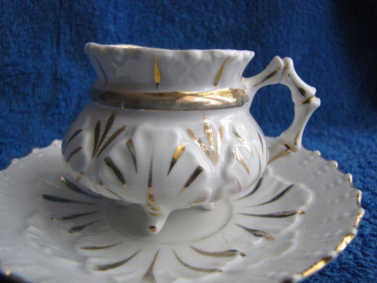 Austria Germany tea pair plate cup saucer white gold Czechoslovakia antique
