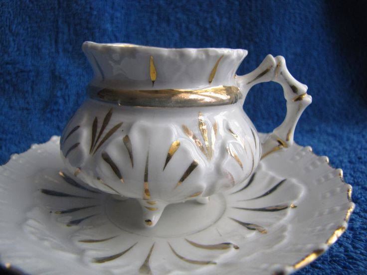 Austria Germany tea pair plate cup saucer white gold Czechoslovakia antique