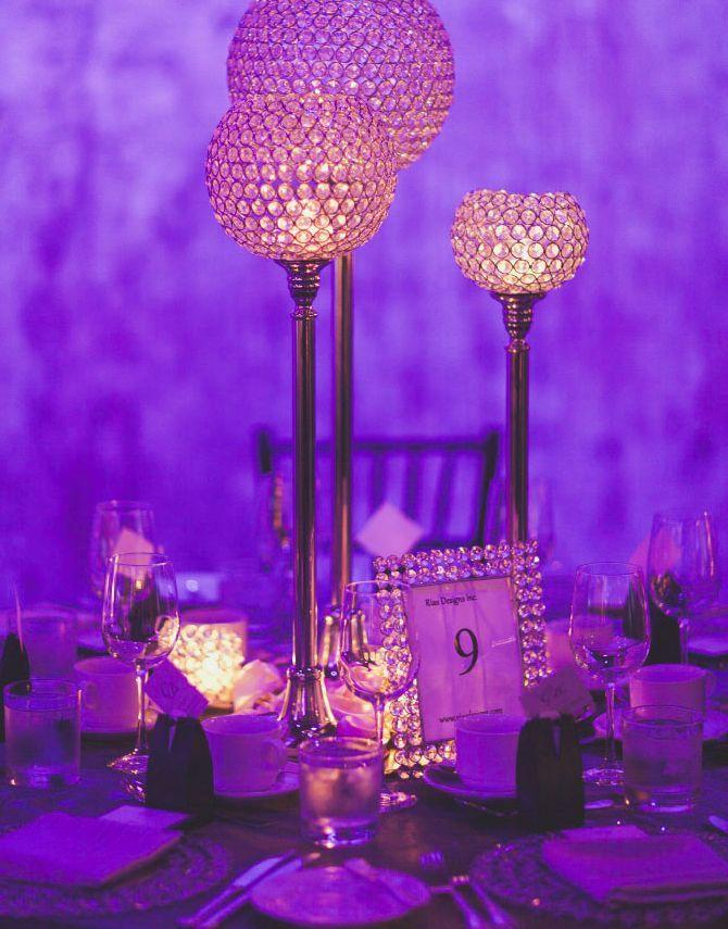 Stunning #centerpieces at this purple #uplighting #wedding #reception! #diy #diywedding #rentmywedding #weddingday #weddingfun #weddingdecor #weddingideas #weddinginspiration #weddingplanner #weddingplanning #weddingseason #event #eventplanner #eventplanning #engaged #engagement #ideas #inspiration #lighting #party #celebration #bigday via @modwedding