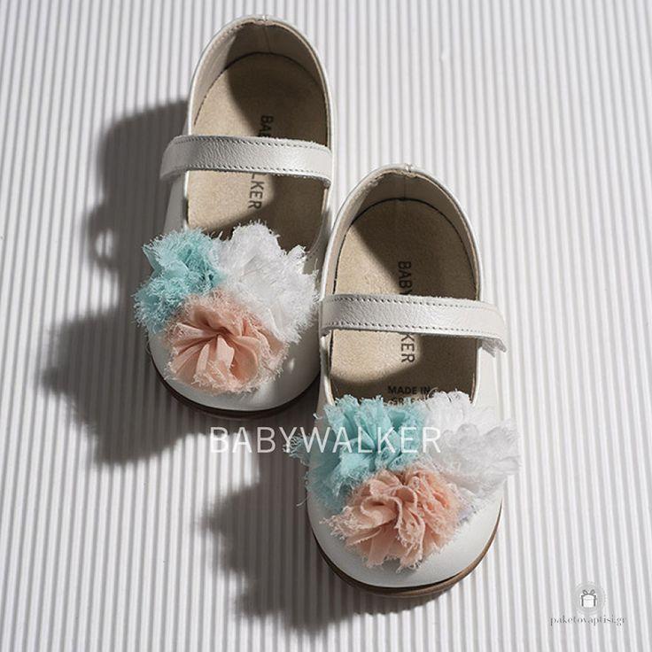 Δερμάτινα Γοβάκια για Κορίτσια με Τρίχρωμα Chiffon Λουλούδια Babywalker BW4599