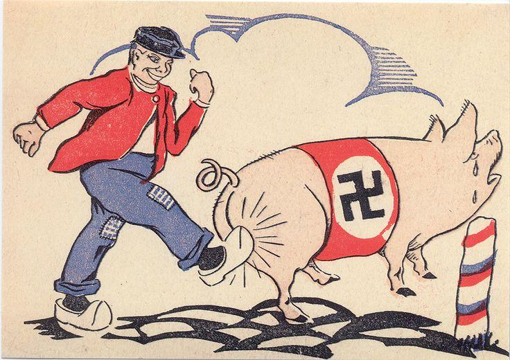 dit is een spotprent over de Duitsers gemaakt door het verzet. er werden vaker spotprenten gemaakt over de Duitsers. deze teksten waren niet geliefd bij de Duitsers