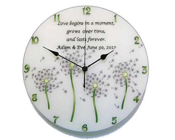 Dandelion Wedding Gift Wall Clock Personalized Gift for Couple
