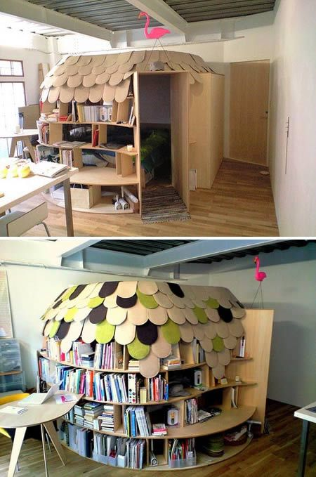 Bookshelf bed fort for children by Point architects of Japan. I think this is titled Urokoya. The bookshelves make for an igloo like wall surrounding the bed. - debs you would love this.