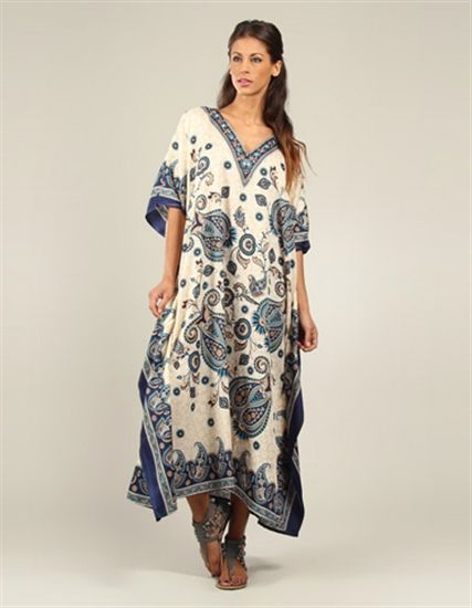 Printed Blue and White Long Kaftan