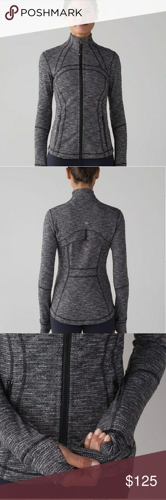 Lululemon Define Herringbone Black Heat Jacket 8 Super HOT Lulu Jacket & A Must Own Piece! Lululemon Athletica Define Jacket. Herringbone Black Heat. Size 8 with rip tag. Excellent preowned condition. No trades.  Lulu, swifty, tech, run, running, fitness, work out, gym, yoga, popular, Pilates, cycling lululemon athletica Jackets & Coats