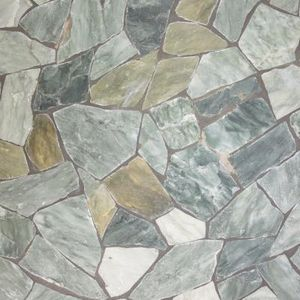 I did a faux tile on a cement basement floor...this might work for a sidewalk to the backyard.