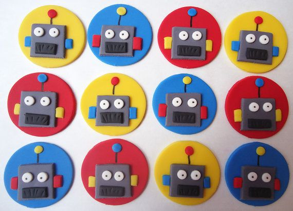 Fondant Cupcake Toppers  Robots by CakesAndKids on Etsy, $17.95