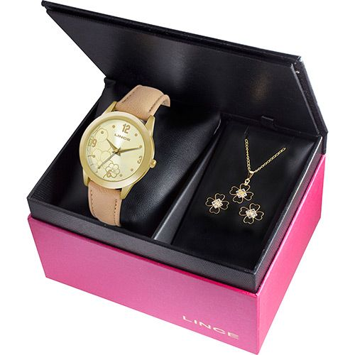 Sou Barato Kit Relógio Feminino Lince Analógico Fashion LRC4300l K104C2TX por apenas >>> R$62,91