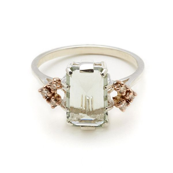 A total swoon worthy green amethyst and champagne diamond ring from Anna Sheffield. http://www.annasheffield.com/collections/fine-jewelry/products/bea-arrow-ring-green-amethyst-champagne-diamonds?variant=864387073