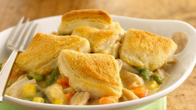 chicken pot pie made with biscuits and soup. perfect for a college student or just a simple dinner.
