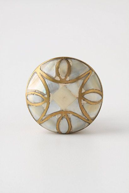 I read that Hobby Lobby carries these & are much cheaper than Anthro. I must get these knobs for either my kitchen or my armoire. Much prettier in person. Mother-Of-Pearl Knob #anthropologie