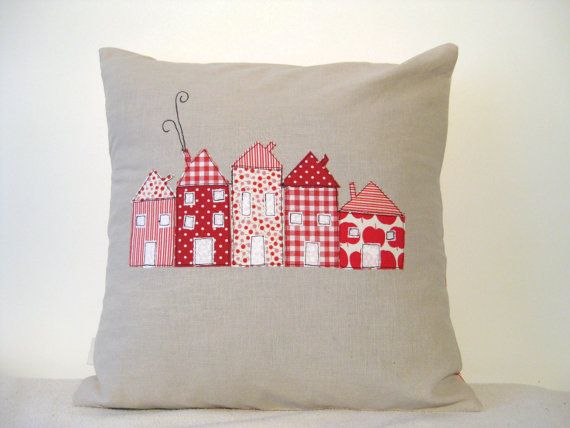 Cushion/pillow cover, red houses appliqued in a row.....just lovely. These houses would look great on a quilted project.