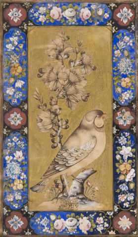 A bullfinch  Qajar Persia, 19th Century