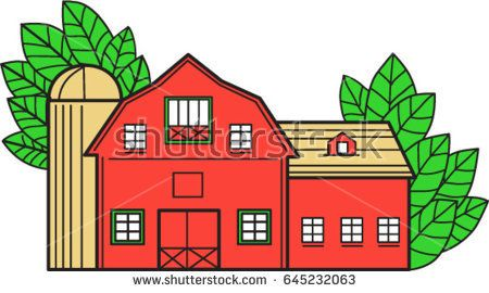 Mono line style illustration of a vintage american barn with leaves in the background set on isolated white background.   #barn #monoline #illustration