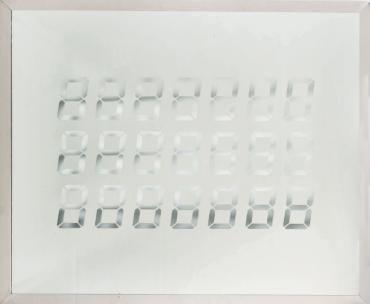 TATSUO MIYAJIMA (NÉ EN 1957) Untitled, 8, 1995 Pièce unique. Miroir gravé. Signé et daté en haut à gauche.