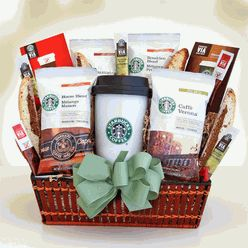 "Here's one deluctable gift for the busy ""on the go"" coffee lovin' mama!  The same mama who has pain stakingly gone nine months without even a hint of caffeine!  Send her this yummy Star Bucks coffee theme basket and tell her to enjoy!The coffee connoisseur knows Star Bucks is number one when it comes to their coffee break and the busy new mommy is sure to love and appreciate her moments of ""ahh"" during run around rush time!  She'll love you for it too!  $69.95"
