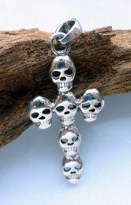 Echt zilveren ketting hanger met skulls