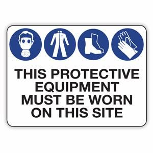 A sign showing what protective equipment must be worn.