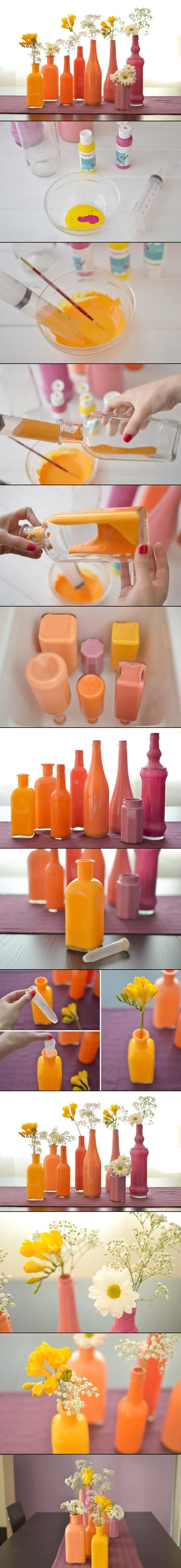 Painted bottles #DIY #Paint #Bottles #Ombre #Orange #Thrift #FleaMarket #Style