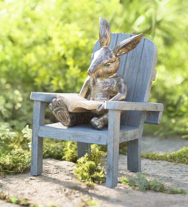"Reading Rabbit Garden Statue | Garden Statues | From Happy Customer Phyllis: ""I call him Robert the rabbit our resident reader. He has a place near our Little Free Library. He is very endearing."""