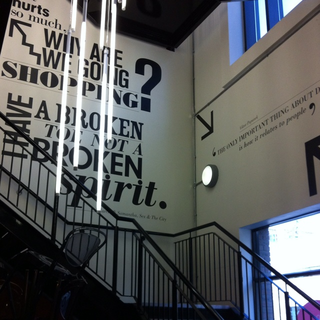 Type On Walls Stairs Create A Directional Graphic For Wall