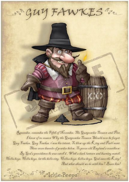 An image of Guy Fawkes Gnome including the famous historical poem of the gunpowder plot in JPG format.