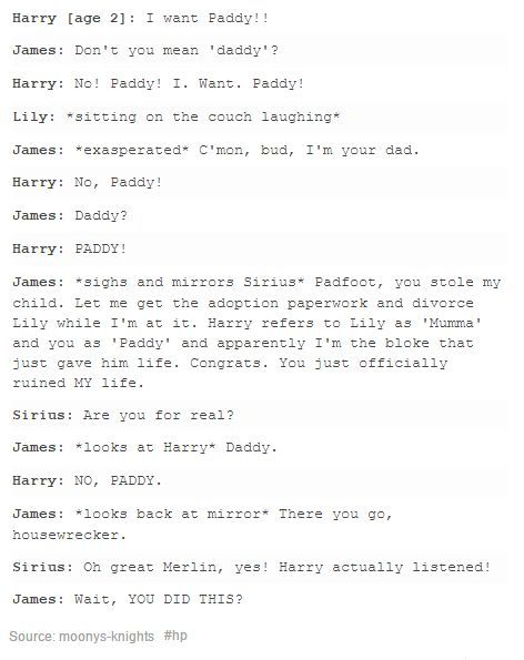 The Marauders and baby Harry: