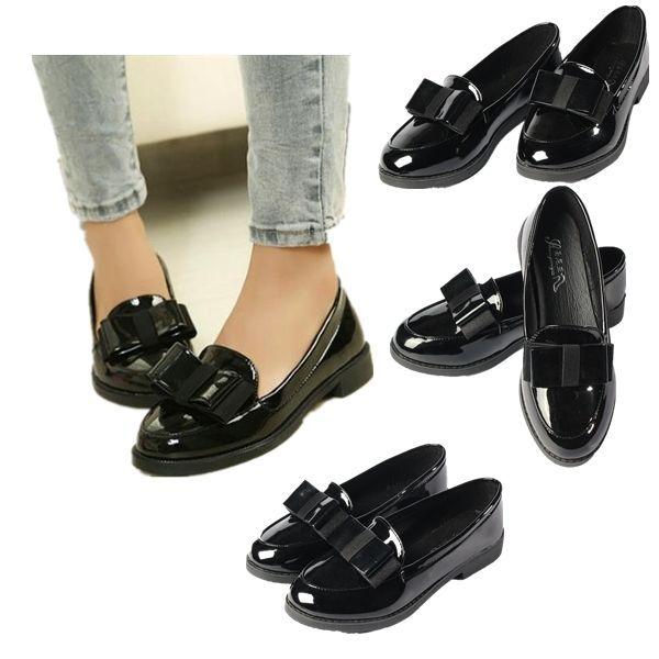 Tacón Cuero Zapatos Lazo Mujer Zapatillas Bajo Mocasines Charol wPXuTikOZ
