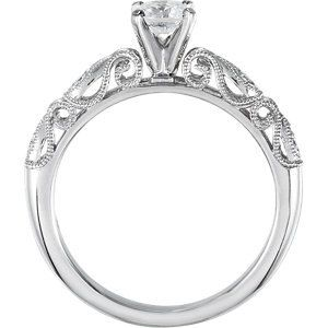 Antique Round 1.00ct Center Hand Engraved Pave Solitair Engagement Ring 0.03pt 14kt White Gold on Etsy, 4 666:67 kr