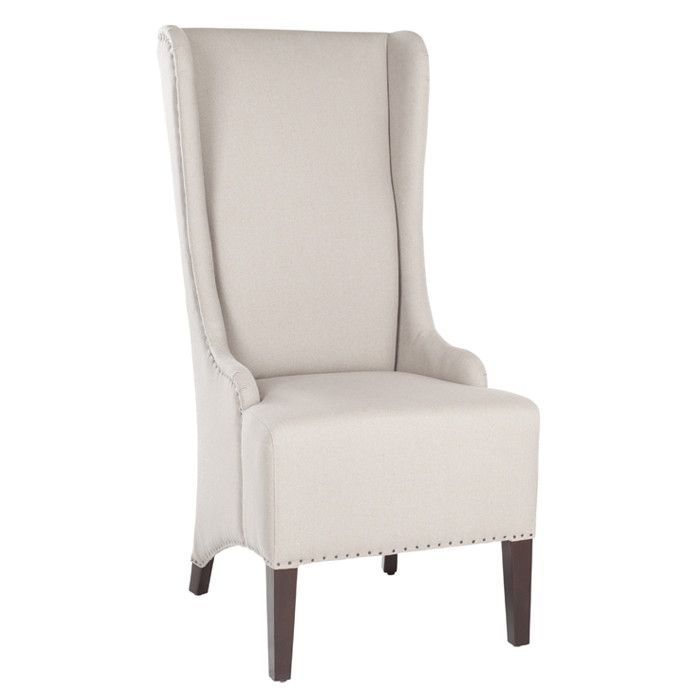 Linen Wingback Chair With Birch Wood Frame And Nailhead Trim. Product: Chair  Construction Material: Birch Wood, Plywood And Linen Color: Beige Features:  ...