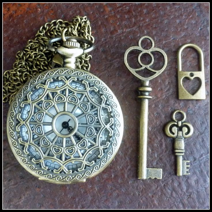 Wholesale Lot Steampunk pocket watch Alice in Wonderland necklace pendant charm tea pot cup tea cup  skeleton key 93 antique  bronze. $13.99, via Etsy.