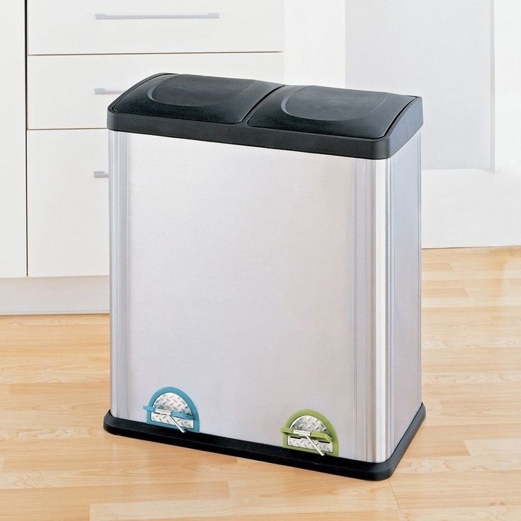 Trash Can Recycle Bin Combo With Lid Stainless Steel 16 Gallon Kitchen Recycling