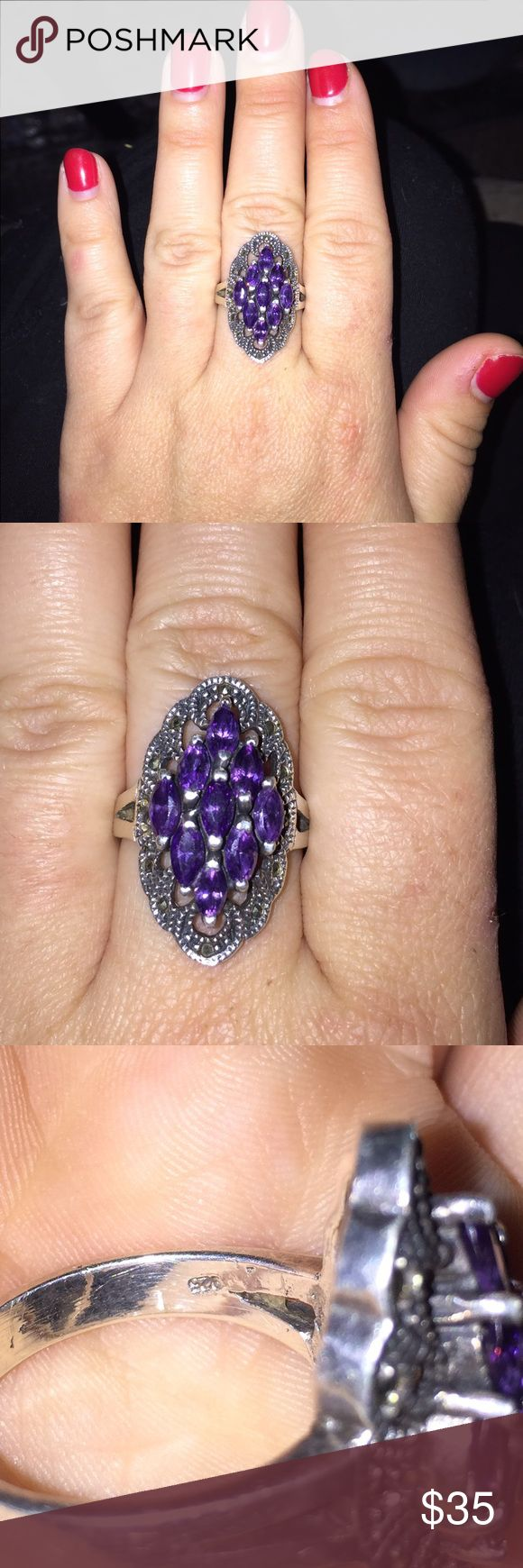 Genuine STAMPED vintage amethyst ring sz 9 925 stamped sterling silver. Genuine amethyst. This ring is pretty old and has held up great. There is some where on it which you can see in the pictures. It's very hard for me to sell since it was my grandmothers so it is legitimately vintage. May need a little cleaning. Jewelry Rings