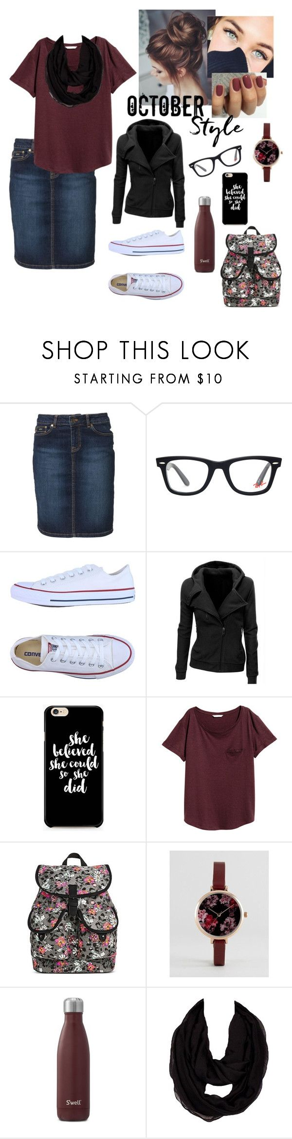 """High school~Thursday "" by wonderfullyme64 ❤ liked on Polyvore featuring McGregor, Ray-Ban, Converse, Caso, Dickies, ASOS and S'well"