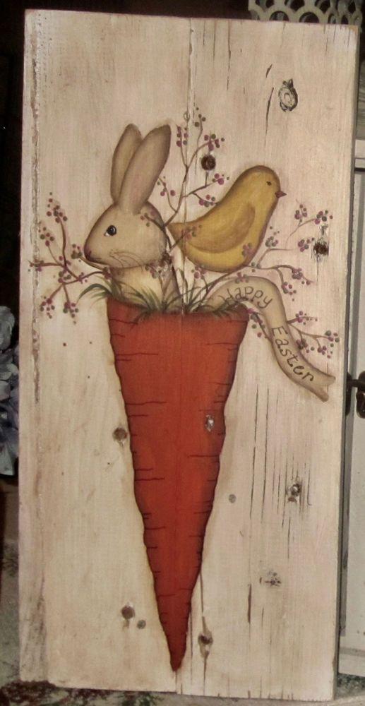 ~*primitive*~* hp folk art bunny * chick * carrot * easter *old reclaimed  wood