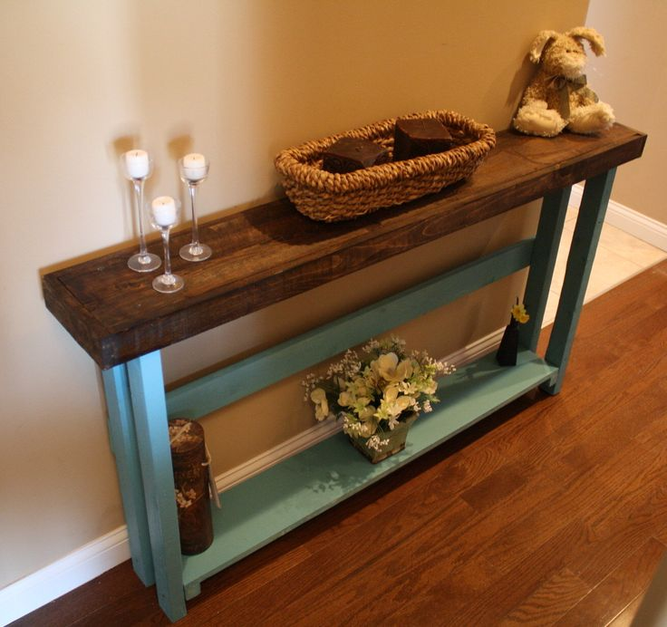 Beautiful Dark Walnut Stained Blue Painted 5-Foot SOFA Table W/Bottom Shelf Custom Made Sizes To Order Different Colors Upon Request by UniquePrimtiques on Etsy https://www.etsy.com/listing/127312470/beautiful-dark-walnut-stained-blue
