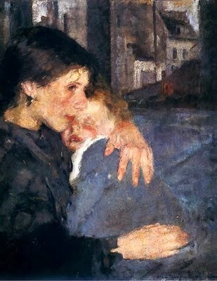Olga Boznanska (Polish Impressionist painter, 1865-1945) Motherhood 1902