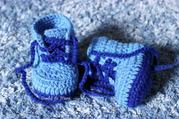 Sapatinho Crochê - Bota Coturno Azul
