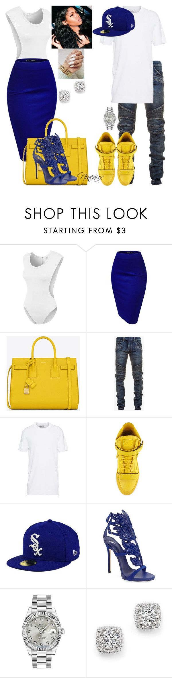 """""""Untitled."""" by styledbynineaux ❤ liked on Polyvore featuring LE3NO, Yves Saint Laurent, Balmain, Neil Barrett, Giuseppe Zanotti, New Era, Rolex and Bloomingdale's"""
