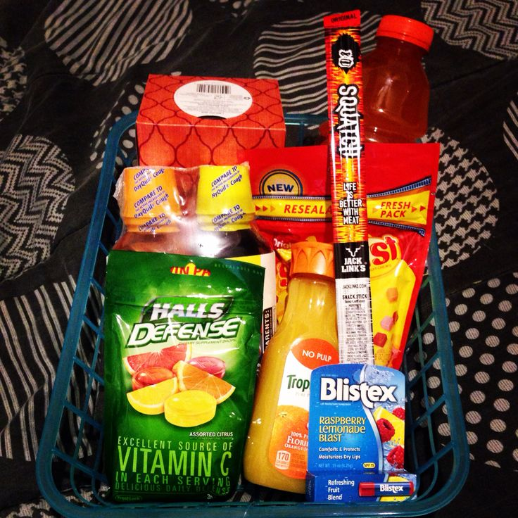 Boyfriend sick get well basket tissues nyqull and dayquil
