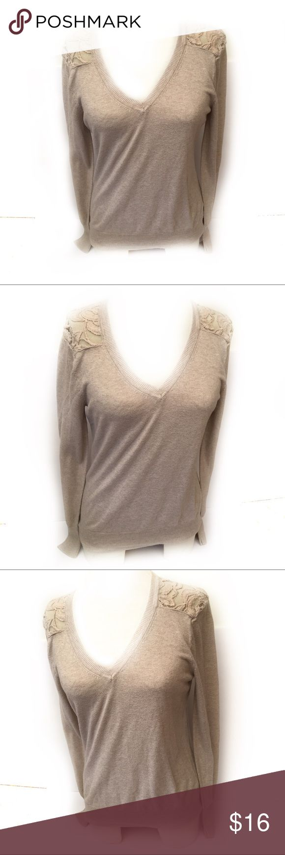 "Lauren Conrad M Beige Crew Neck Lace Sleeves Lauren Conrad Women SZ M Beige Crew Neck Lace Sleeves Long Sleeve Shirt  20"" arm pit to arm pit 25"" length LC Lauren Conrad Tops Tees - Long Sleeve"