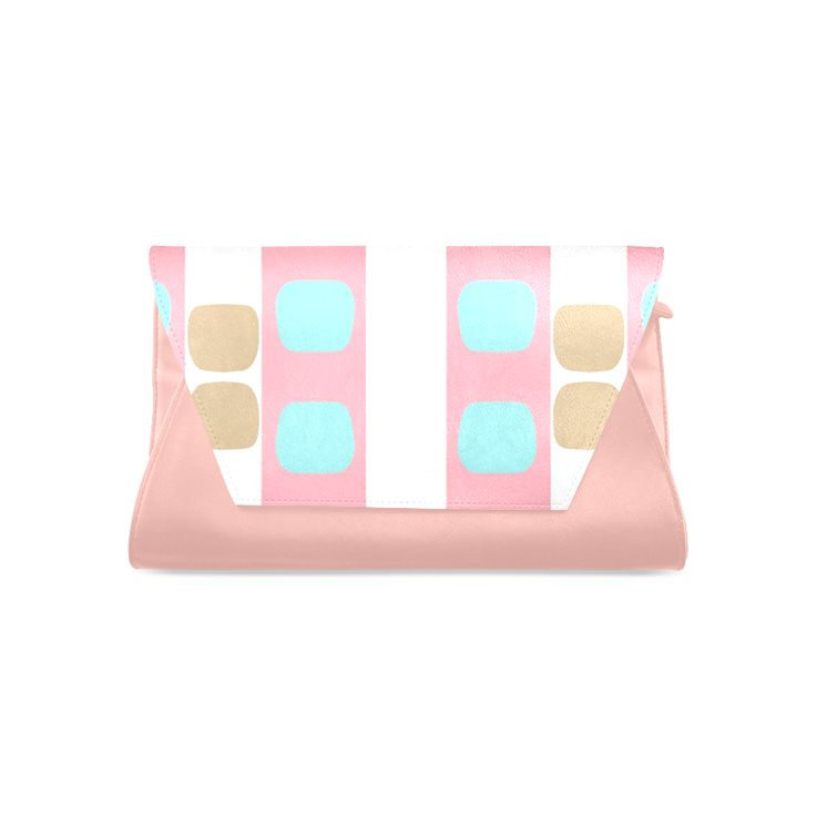 Clutch bag -pastel stripes with dots Clutch Bag