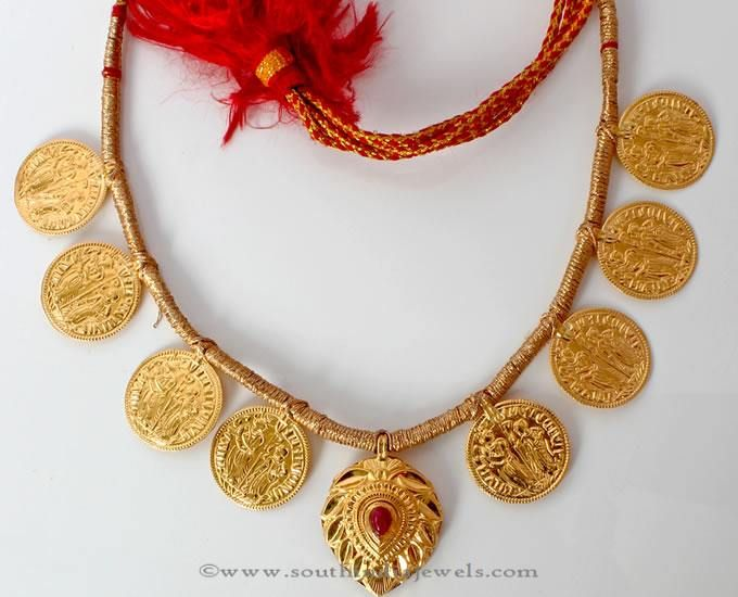 Gold Maharashtrian Style Necklace Designs, Gold Maharashtrian Style Coin Necklace Designs.